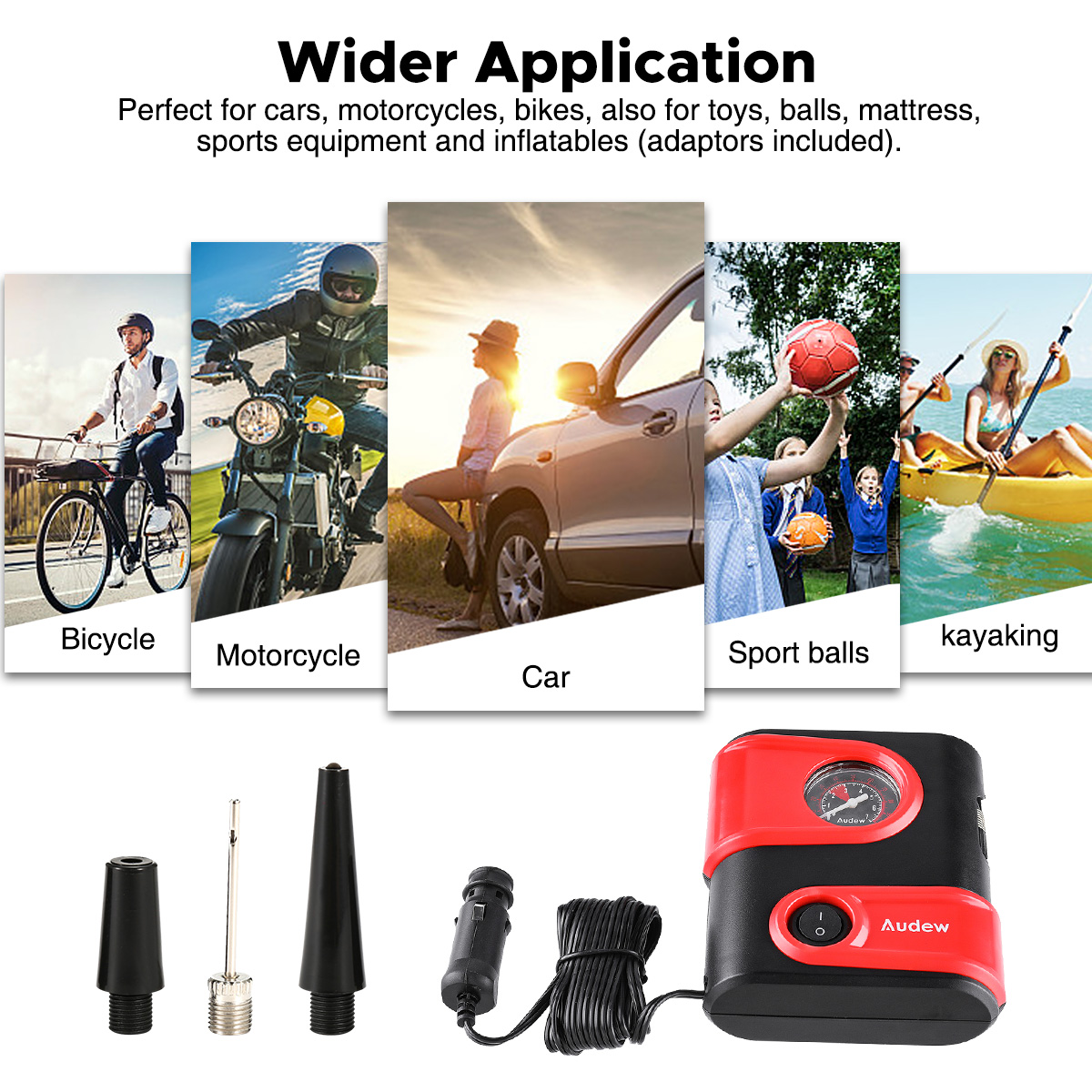 Audew Tire Inflator, Portable Mini Air Compressor Pump with Gauge, 12V DC Auto Tire Pump for Car, Bicycle, Motorcycle, SUV,Basketball and Other Inflatables