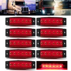 Audew 10 Pcs 3.8\'\' 6 LED Red Side Marker Trailer Marker Lights Rear Side Marker Lights Indicator Lights for Truck Bus Boat Cab Rv Lorrieds Jeep Suv