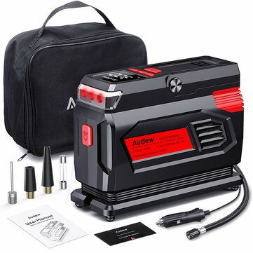 Audew Heavy Duty Car Tire Inflator, 12V 120W 150PSI Portable Air Compressor Pump with 10 ft. Power Cable